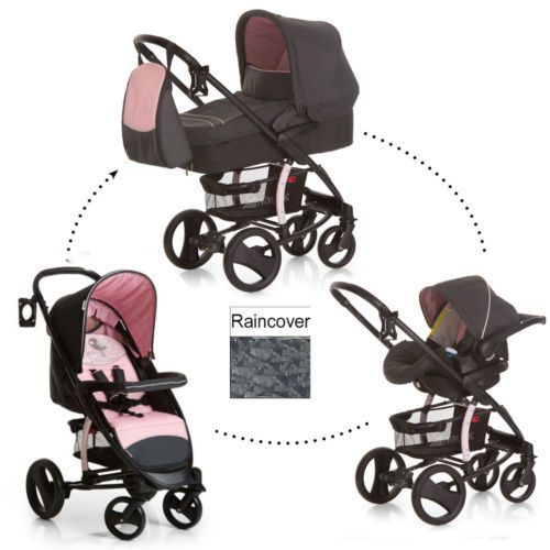 New Hauck malibu XL 3in1 travel system pushchair pram+car seat+carrycot+raincover set in Birdie Pink
